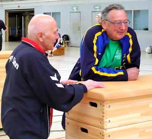 Harald Fielder und Wolfgang Schröder Indiaca-Turnier in Erkrath 3.2017