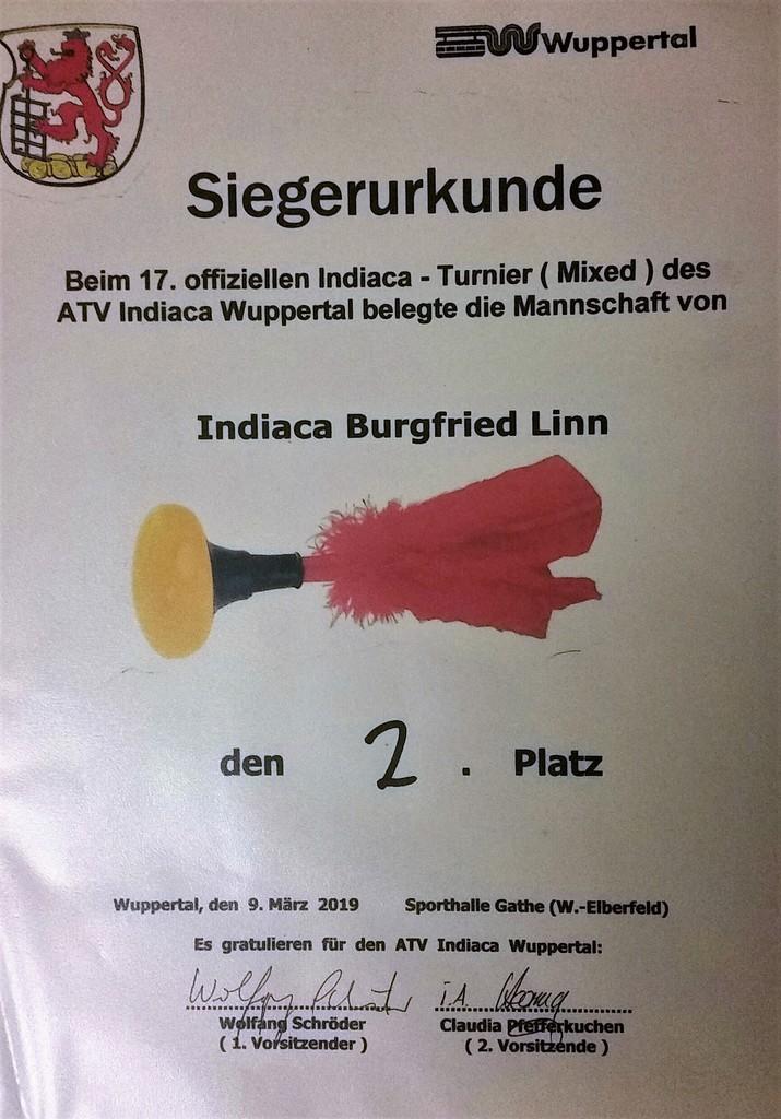 Urkunde Wuppertal 2019